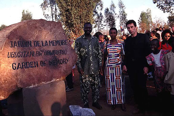 Some Rwandese personalities with Bruce Clarke at the entrance of the Garden of Memory